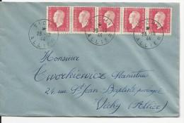 1944 - DULAC - YVERT N°691 BANDE De 5 SUR ENVELOPPE De VICHY - 1944-45 Maríanne De Dulac