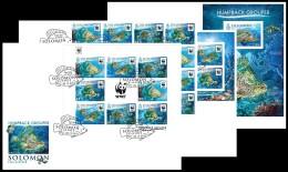 SOLOMON Isl. 2015 - WWF Humpback Grouper. Complete IMPERF. Set Of FDC - W.W.F.