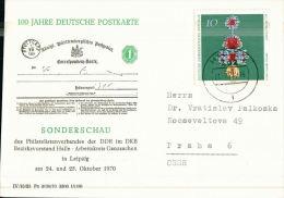 R   100 Jahre Deutsche Postkarte Sonderschau Leipzig  24 Und 25 Oktober 1970 - Postales Privados - Usados
