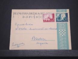 CROATIE - Entier Avec Complément D'affr. Pour Baden - Fev 1942 - A Voir - P16759 - Croatie
