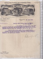 Manufactures De Cigares Fins - Aloïs Malfet 1914 - Alimentare