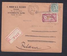 Recommandé Strasbourg Place Cathedrale N°960 Retour Noack & Kleiber Avocats Merson 121 1F Lie De Vin Olive -Blanc 111 5c - Postmark Collection (Covers)