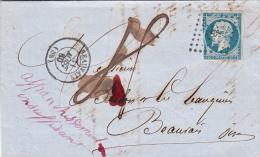 1860 LETTRE N° 14. TAXE PLUME 4. AFFRANCHISSEMENT INSUFFISANT BEAUVAIS OISE POUR EN VILLE / 7520 - Postmark Collection (Covers)