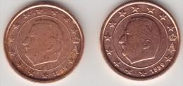 @Y@     Belgie  1 Cent 1999 Kleine Ster + 1 Cent 1999  Grote Ster   UNC - Belgium