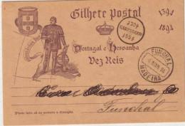 PORTUGAL - FUNCHAL (MADERE) - CARTE POSTALE ENTIER ILLUSTREE De FUNCHAL En 1894 - Funchal