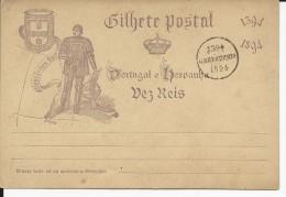 PORTUGAL - 1894 - CARTE ENTIER POSTAL COMMEMORATIVE - Ganzsachen