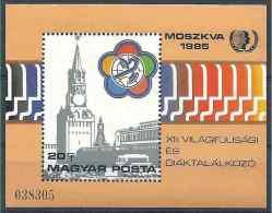1985 HONGRIE BF 180** Moscou, Place Rouge, Jeunesse, étudiants - Blocks & Sheetlets