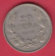 F5592 / - 20 Leva -  1940 - Tsar Boris III Of  Bulgaria Bulgarie Bulgarien Bulgarije - Coins Monnaies Munzen - Bulgaria