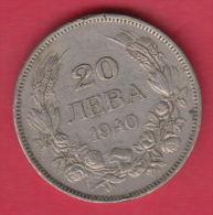 F5593 / - 20 Leva -  1940 - Tsar Boris III Of  Bulgaria Bulgarie Bulgarien Bulgarije - Coins Monnaies Munzen - Bulgaria