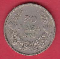 F5600 / - 20 Leva -  1940 - Tsar Boris III Of  Bulgaria Bulgarie Bulgarien Bulgarije - Coins Monnaies Munzen - Bulgaria