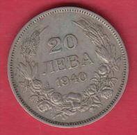 F5604 / - 20 Leva -  1940 - Tsar Boris III Of  Bulgaria Bulgarie Bulgarien Bulgarije - Coins Monnaies Munzen - Bulgaria