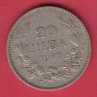 F5606 / - 20 Leva -  1940 - Tsar Boris III Of  Bulgaria Bulgarie Bulgarien Bulgarije - Coins Monnaies Munzen - Bulgaria