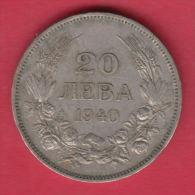 F5607 / - 20 Leva -  1940 - Tsar Boris III Of  Bulgaria Bulgarie Bulgarien Bulgarije - Coins Monnaies Munzen - Bulgaria