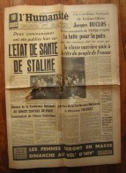 L'Humanité 6 Mars 1953 : L'état De Santé De Staline - Documents Historiques