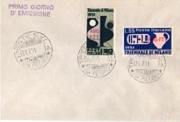1951 Busta I° Giorno Con Triennale Di Milano AMG FTT  09 - 6. 1946-.. Repubblica