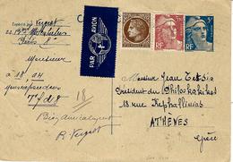 1948- C P E P Par Avion   5 Frs Gandon + Compl. à 6 Frs   Pour La Grèce - Marcophilie (Lettres)