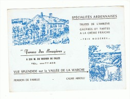 "Carte De Visite (format Carte Postale ) "" Ferme Des Bruyères"" Falize - Malmedy - Plan Au Verso - Cartes De Visite"