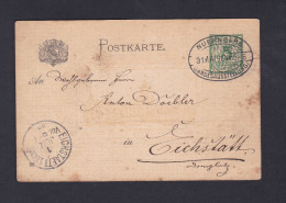 Entier Postal Ganzsache Cachet Nuernberg Landesausstellung Vers Eichstaett - Allemagne