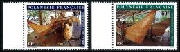 POLYNESIE 1986 - Yv. 266 Et 267 ** SUP Bdf  Faciale= 0,81 EUR - Construction D'une Pirogue (2 Val.) ..Réf.POL22420 - Französisch-Polynesien