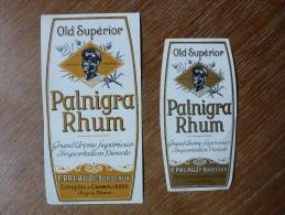 RHUM PALNIGRA  OLD SUPERIOR BORDEAUX CHAMALIERES 2 ETIQUETTES - Rhum