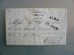 Prefilatelia - Prefilatelica - Da Alba A Mondovi - 1837 Timbro Poste Vescovo D'Alba - 1. ...-1850 Prephilately