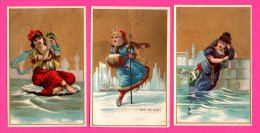 6 Chromos Dorés - Femmes - Mer Des Indes - Mer Rouge - Mer Méditerranée - Mer Adriatique - Mer Noire - Mer Du Nord - Kaufmanns- Und Zigarettenbilder