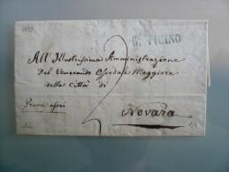 Prefilatelia - Prefilatelica - Da Borgo Tigino A Novara - 1839 - 1. ...-1850 Prephilately