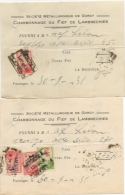Reçu. Société Métallurgique De Gorcy. Charbonnage Du Fief De Lamberchies. Timbre Taxe. 1931. Lot De 2. - Bélgica