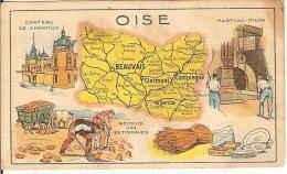 Image Récompense: Carte De L'Oise - Publicité Des Pastilles SALMON - Geographical Maps