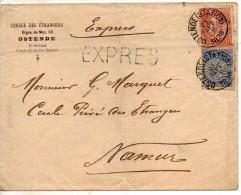 1896 Belgie Belgique Enveloppe Expres De Ostende Voyagee Pour La France - 1893-1900 Schmaler Bart