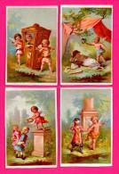 4 Chromos Sur Le Thème Des Anges - Enfants Porteurs - Romantiques - Couronnement - Anges - Kaufmanns- Und Zigarettenbilder