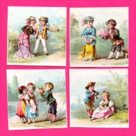 4 Chromos - La Cour - Couples D'Enfants - Flûte - Fleurs - Chapeaux - Lettre - Costumes - Environ 7 X 7 Cm - Kaufmanns- Und Zigarettenbilder