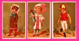 6 Chromos Dorés - Arts - Enfants - Jockey - Proverbes - Chacun Son Tour - Elle A Le Sac - Son Bâton De Maréchal - Kaufmanns- Und Zigarettenbilder
