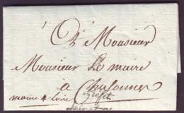 """LOIR & CHER - LAC - Blois (1809) + Griffe """"Préfet / Loir Et Cher"""" En Franchise Pour Chalonnes (47), Lettre Avec Entê - 1801-1848: Precursori XIX"""