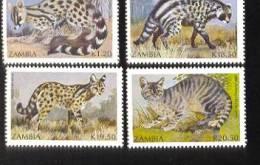 ZAMBIA   519-22 ; MINT NEVER HINGED SOUVENIR  SHEET OF CATS ; CARNIVORES - Big Cats (cats Of Prey)