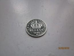 AR : 20 Centimes , Napoleon III , Tête Laurée , Argent , Module 15mm , 1866 BB - France