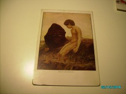DETMOLD , THE JUNGLE BOOK BY KIPLING , MOWGLI AND BAGHEERA PANTHER , NUDE BOY , OLD POSTCARD, O - 1900-1949
