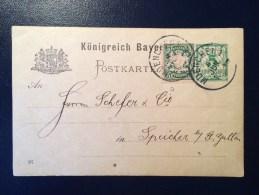 BAYERN / KÖNIGREICH  / MUENCHEN /  Postkarte / 1897 / FOR SUISSE / SCHWEIZ / SPEICHER ST GALLEN / - Entiers Postaux