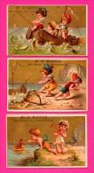 8 Chromos Dorés - MANESSE Charleville - Lingerie Pour Dames - Enfants Marins - Plage - Bateau - Crabe - Homard - DUBOURG - Kaufmanns- Und Zigarettenbilder
