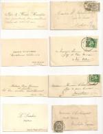 4 Cartes De Visite Avec Enveloppes Et Timbres, An 1900, 1914, ?, 1900. - Cartes De Visite