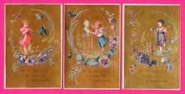 6 Chromos Dorés - MANESSE à Charleville - Enfant Avec Hirondelles - Oiseaux - Art - Animaux - Chevalet - Flûte - DUBOURG - Kaufmanns- Und Zigarettenbilder