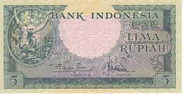BILLETE DE INDONESIA DE 5 RUPIAH AÑO 1957 MONO-MONKEY   (BANKNOTE) SIN CIRCULAR-UNCIRCULATED - Indonesia