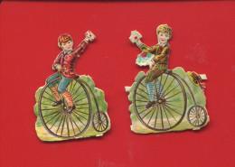 CHROMO DECOUPIS ENFANT DRAISIENNE LETTRE 5 CM HAUTEUR DEUX DECOUPIS VELO CYCLISME BICYCLETTE - Children