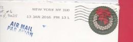USA - Lettre Pour La France 13/01/16 - SILVER BELLS WREATH - Cartas