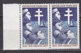 N° 1532 25ème Anniversaire De La Victoire De Bir-Hakeim:  Une Paire De 2 Timbres Neuf Bord De Feuille Gauche - Neufs