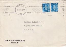 1952 LETTRE. NORVEGE. NORWAY COVER. . OSLO-LYON. VI OLYMPISKE VINTERLEKER  / 324 - Lettres & Documents