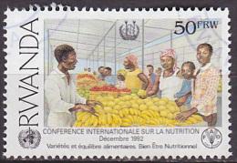 Timbre Oblitéré N° B 1453(Michel) Rwanda 1992 - Conférence Internationale Sur La Nutrition, Marché - Rwanda