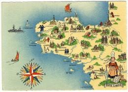 29  BRETAGNE   CARTE GEOGRAPHIQUE  BARRA DAYES    -  CPM 1940 / 50 - France