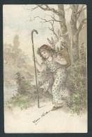 Jolie Fillette Et Petits Lapins. Carte Gaufrée. Beau Relief Avec Dorures. Voyagée En 1905. 2 Scans. - Scènes & Paysages