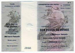 BON POSTAL DE VOYAGE Da 200 Franchi Francesi Nuovo Perfetto - [ 2] 1946-… : Républic